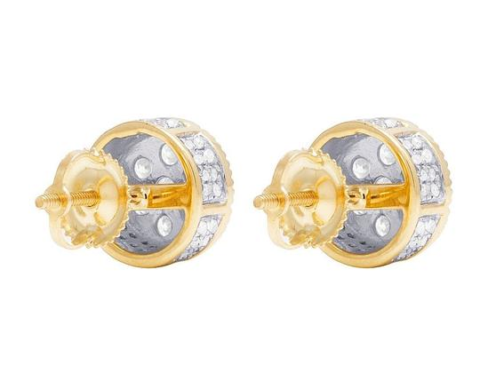 Jewelry Unlimited 10K Yellow Gold 3D Fluted Round Cluster Diamond Stud 0.65 Ct 8MM Image 5