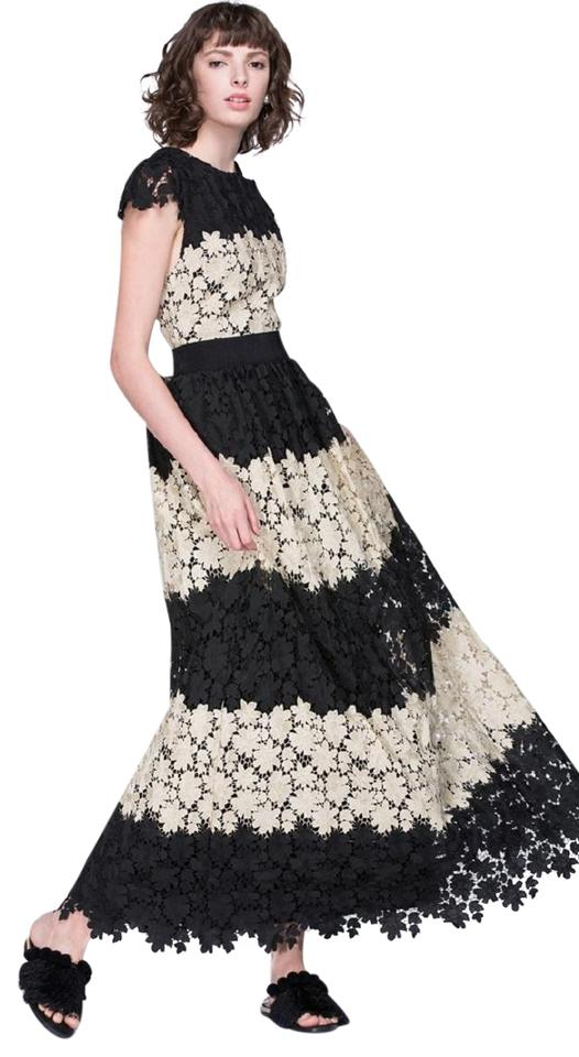 Alice + Olivia Gold/Black Noel Colorblock Lace Gown Holiday 4/S New ...