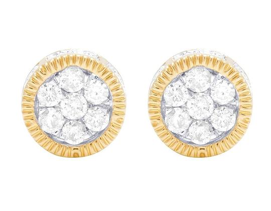Preload https://img-static.tradesy.com/item/22170153/jewelry-unlimited-10k-yellow-gold-3d-fluted-round-cluster-diamond-050-ct-7mm-earrings-0-1-540-540.jpg