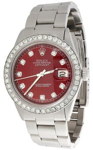 Rolex Mens Rolex 36mm DateJust Diamond Watch Oyster Red Dial 2 CT.