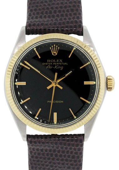 Preload https://img-static.tradesy.com/item/22170256/rolex-brown-black-gold-white-5501-air-king-two-tone-on-leather-strap-watch-0-2-540-540.jpg