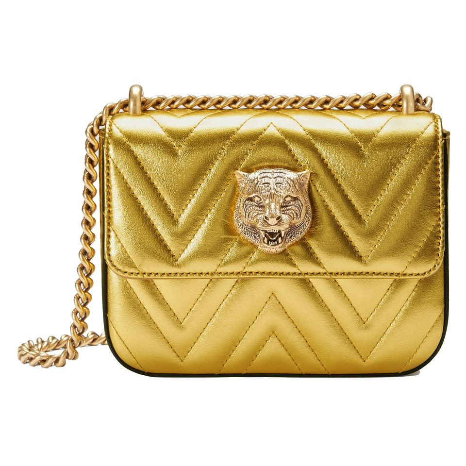d4834bad9b27 Gucci Broadway Chain 432581 Gold Leather Shoulder Bag - Tradesy