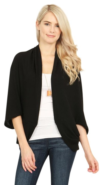 Item - Black Open Front Dolman Cardigan Poncho/Cape Size OS (one size)