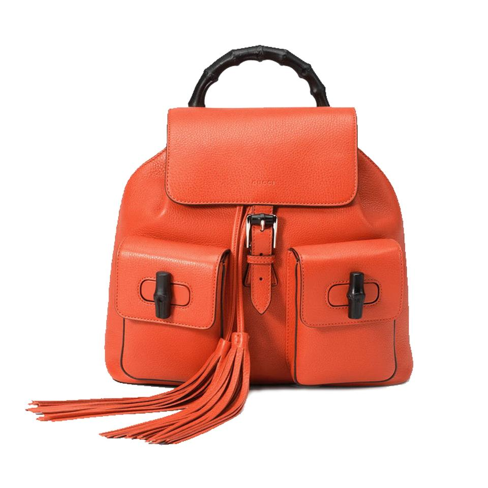 37c49c7d746 Gucci Bamboo Handle 370833 Dark Orange Leather Backpack - Tradesy