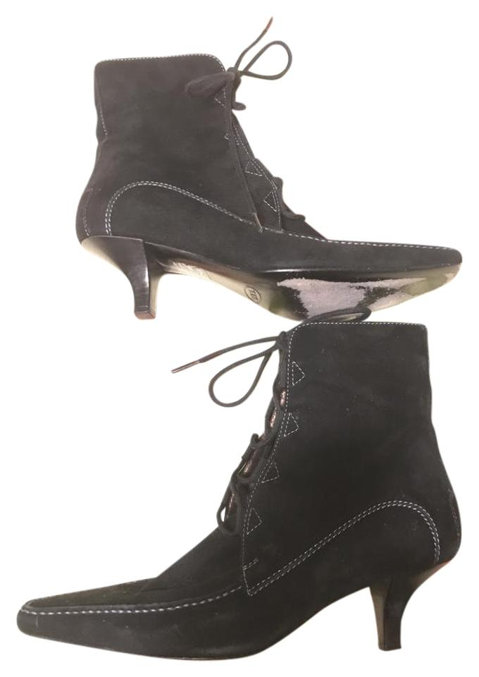 b3d5e73968 Tod's Black Suede Leather Topstitch Trim Heeled Lace Up Ankle Boots/Booties  Size US 6.5 Regular (M, B) 85% off retail