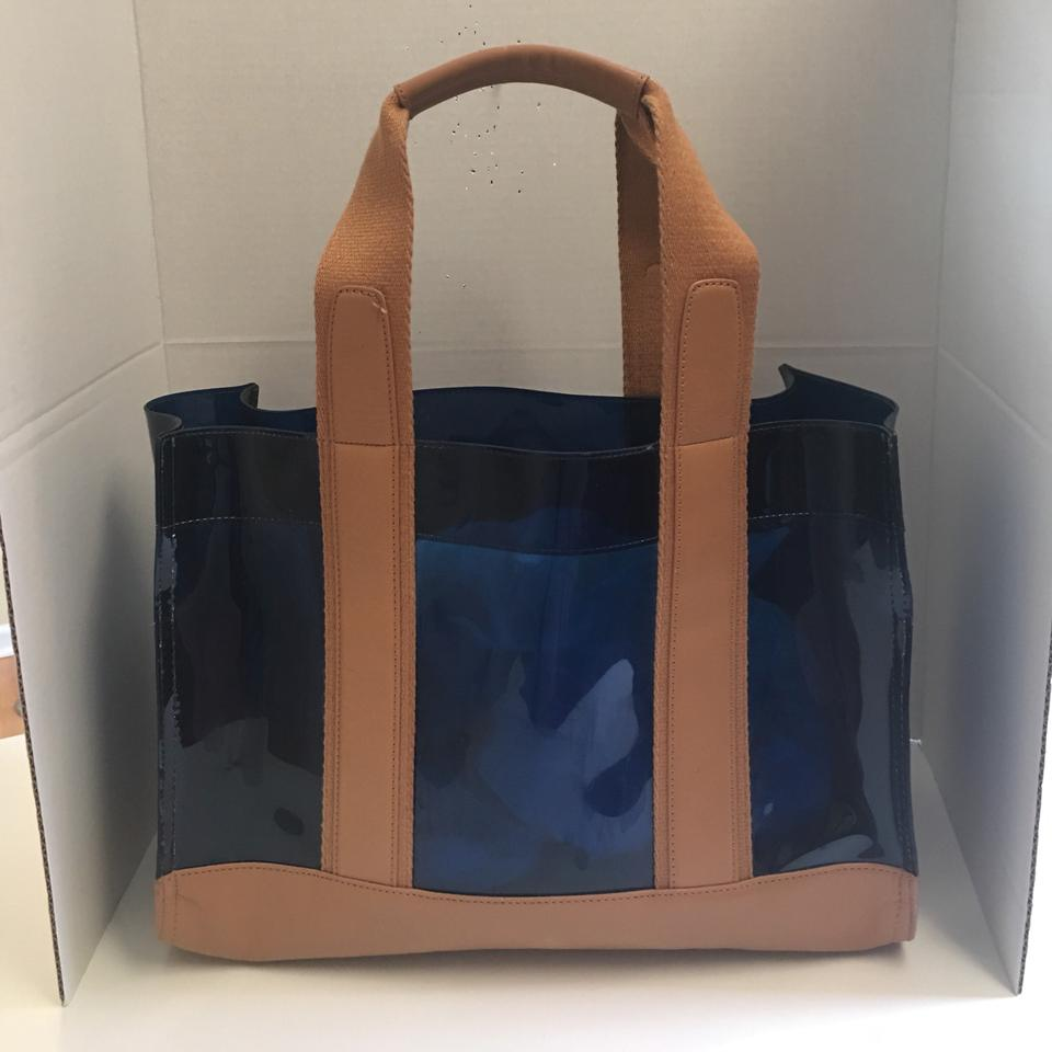 8110a812125 Tory Burch And Signature Navy Tan Plastic Jelly Leather Tote - Tradesy