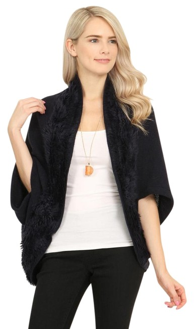 Item - Navy Faux Fur Open Front Dolman Cardigan Poncho/Cape Size OS (one size)