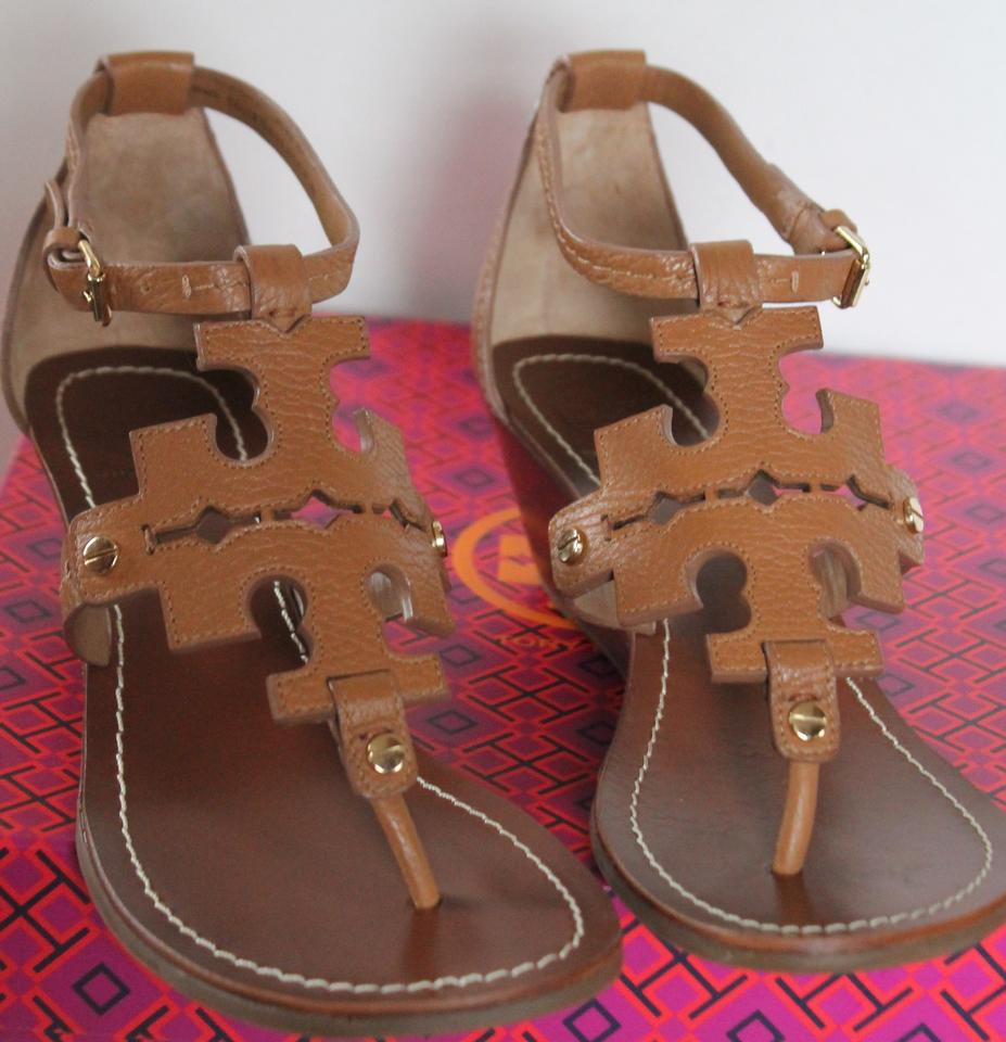 c12c39241b5f Tory Burch Royal Tan 260 Nwb Never Worn Chandler 50mm Tumbled Leather Wedge  Sandals