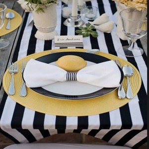 "Custom Made Black and White 1"" Stripes Sophisticated Table Runners Tablecloth"