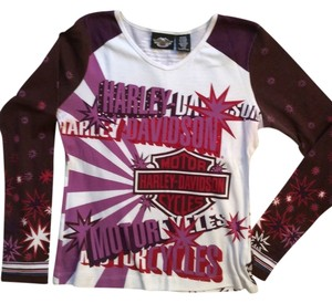 Harley Davidson T Shirt Purple and white