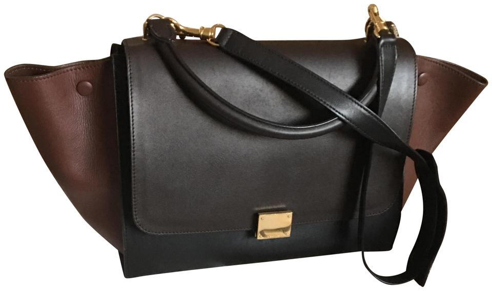 094812c9abd4 Céline Trapeze Smooth Small Strap Black Brown Leather Shoulder Bag ...