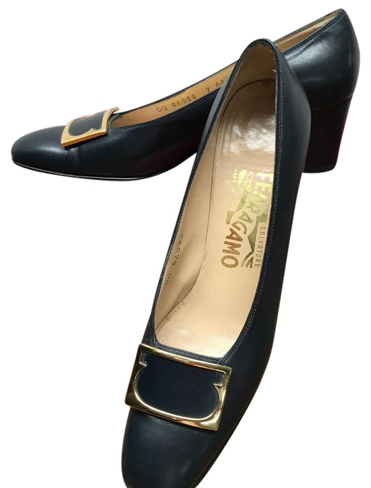 Salvatore Ferragamo Gold Black Low Heeled with Gold Ferragamo Buckle Accent Pumps 9edfab
