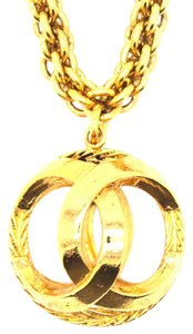 Chanel #14415 CC Sphere Large cutout long gold chain necklace