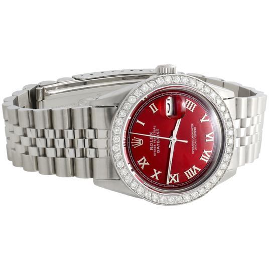 Rolex Rolex 36mm DateJust Diamond Jubilee Watch Roman Numeral Red Dial 1.90 Image 3