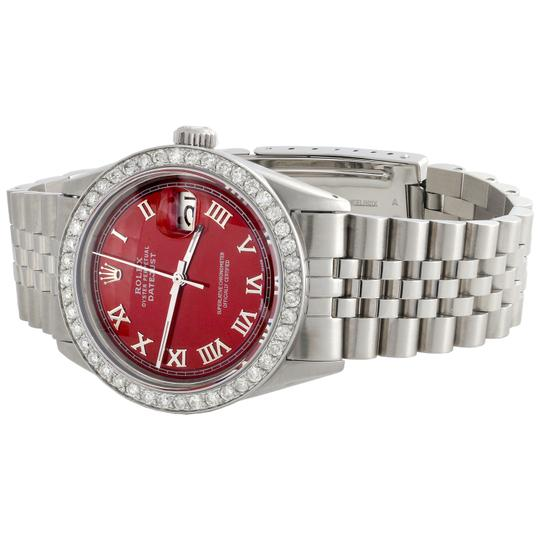 Rolex Rolex 36mm DateJust Diamond Jubilee Watch Roman Numeral Red Dial 1.90 Image 4