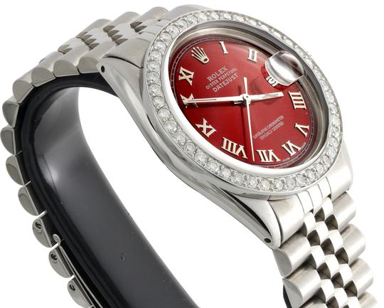 Rolex Rolex 36mm DateJust Diamond Jubilee Watch Roman Numeral Red Dial 1.90 Image 5