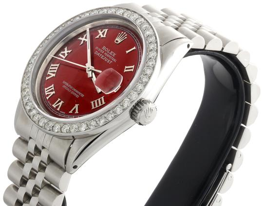 Rolex Rolex 36mm DateJust Diamond Jubilee Watch Roman Numeral Red Dial 1.90 Image 6