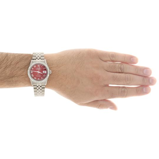 Rolex Rolex 36mm DateJust Diamond Jubilee Watch Roman Numeral Red Dial 1.90 Image 9