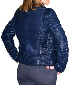 Barbara Bui Lace Size 44 Navy Blue Leather Jacket