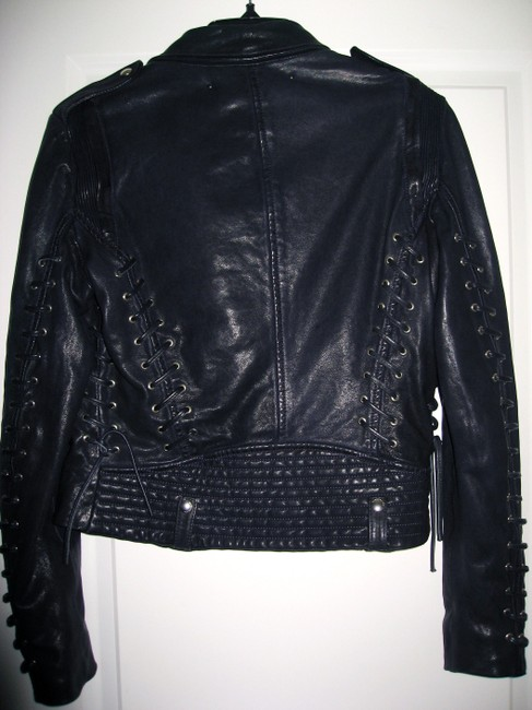 Barbara Bui Lace Size 44 Navy Blue Leather Jacket Image 2