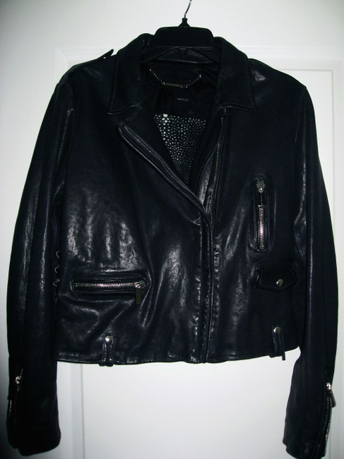 Barbara Bui Lace Size 44 Navy Blue Leather Jacket Image 3