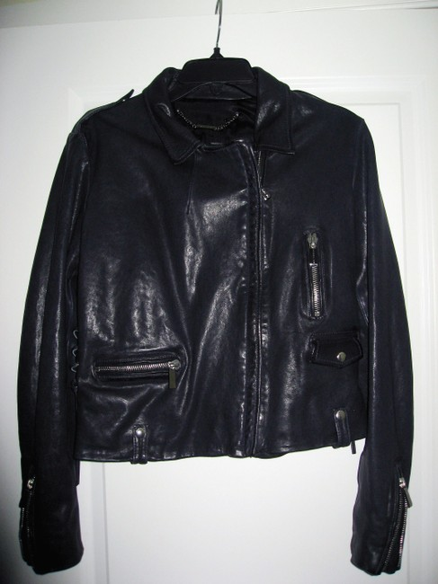 Barbara Bui Lace Size 44 Navy Blue Leather Jacket Image 4