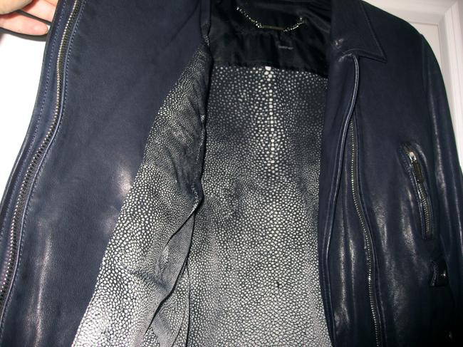 Barbara Bui Lace Size 44 Navy Blue Leather Jacket Image 6