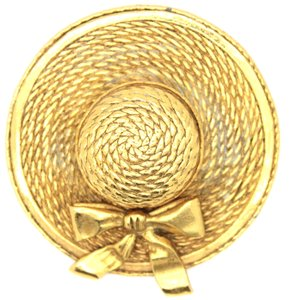 Chanel #14418 CC large hat gold hardware brooch pin charm