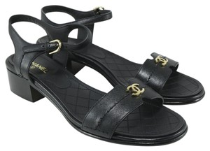 Chanel Logo Runway Black Sandals