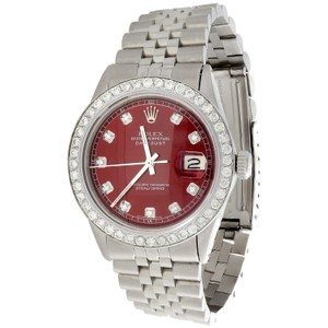 Rolex Mens Rolex 36mm DateJust Diamond Watch Jubilee Custom Red Dial 2 CT.