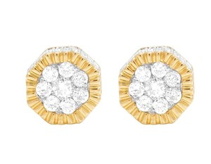 Jewelry Unlimited 10K Yellow Gold Diamond 3D Cluster Stud Earring 0.75 Ct 8MM