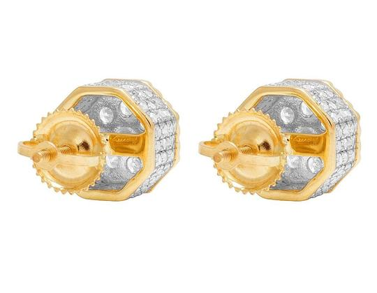 Jewelry Unlimited 10K Yellow Gold Diamond 3D Cluster Stud Earring 0.75 Ct 8MM Image 4