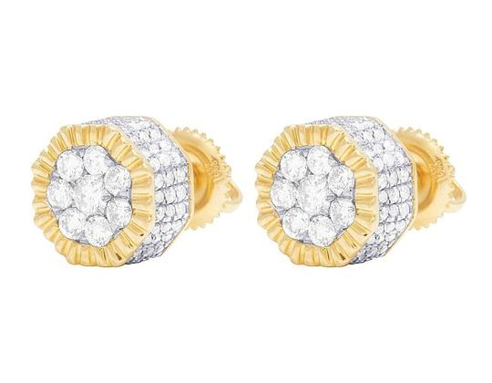 Jewelry Unlimited 10K Yellow Gold Diamond 3D Cluster Stud Earring 0.75 Ct 8MM Image 5