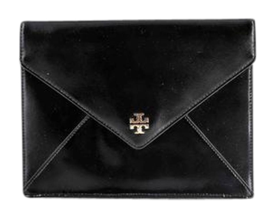 5249652387a Tory Burch Robinson Kira   Envelope Black Clutch - Tradesy