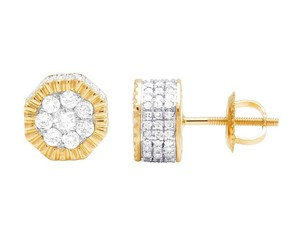 Jewelry Unlimited 10K Yellow Gold Diamond 3D Cluster Stud Earring 0.50 Ct 7MM