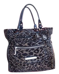 Juicy Couture Valour Monogram Animal Print Double Handles. Hang Tags Tote in Black and Grey
