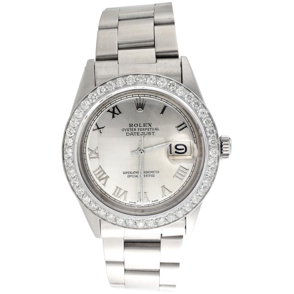 Rolex Silver Roman Men 36mm Datejust Diamond Oyster Dial 1 90 Ct Watch 37 Off Retail