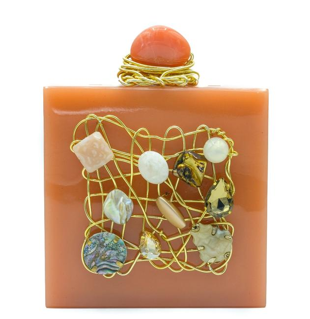 Item - With Natural Gemstones Peach Acrylic Clutch