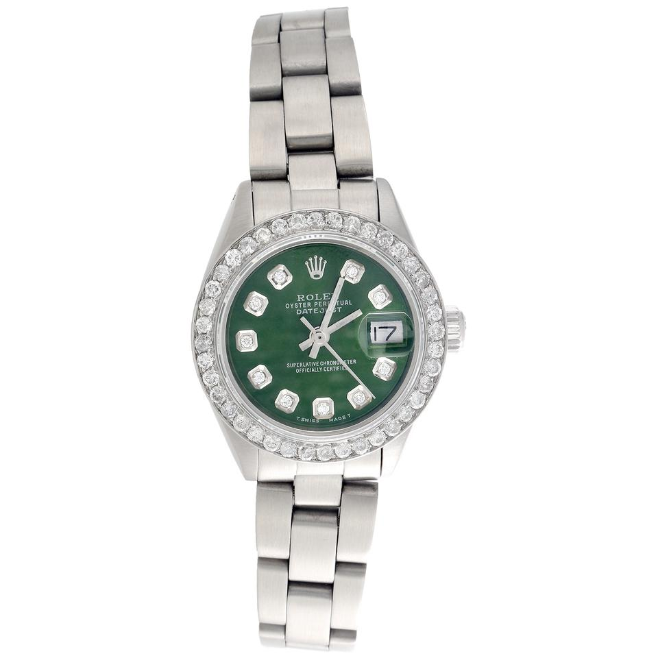 Rolex Silver Perpetual 6917 Datejust Ladies Diamond Green Dial 1 Ct. Watch  46% off retail