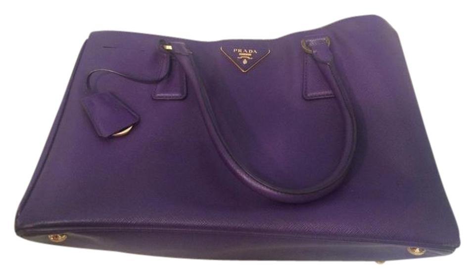 25407d37c925 Prada Double Lux Galleria Medium Saffiano Zip Purple Leather Tote ...