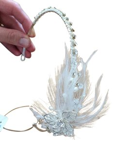 David's Bridal Rhinestone Natural Pearl and White Feather Spray Perfect Accent Tiara