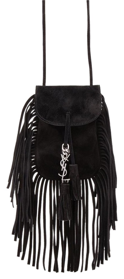 8e20451ce7 Saint Laurent Anita Flat Fringe Black Suede Cross Body Bag - Tradesy