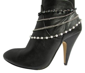 Other Women Silver Anklet Pewter Boot Multi Chains One Strap Beads
