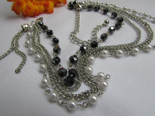 Other Women Silver Anklet Pewter Boot Multi Chains One Strap Beads Image 1