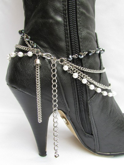 Other Women Silver Anklet Pewter Boot Multi Chains One Strap Beads Image 2