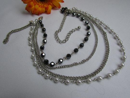 Other Women Silver Anklet Pewter Boot Multi Chains One Strap Beads Image 3