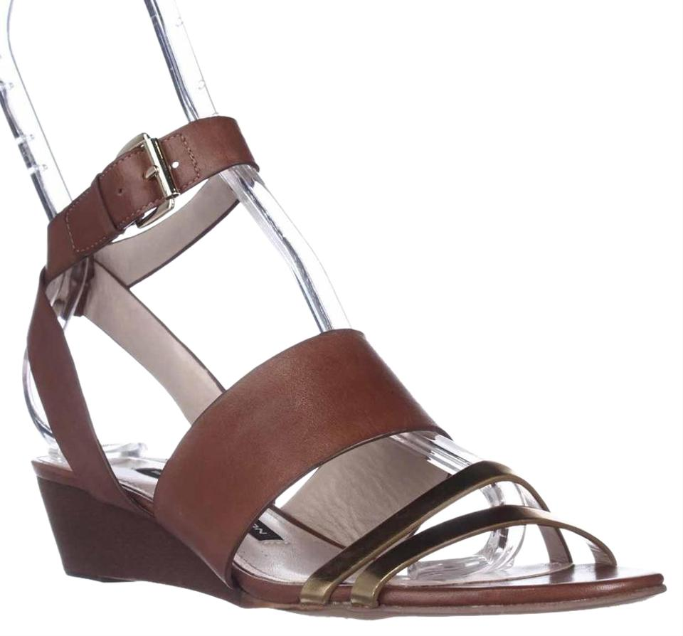 French Connection Sandals Brown Wiley Ankle-strap Sandals Connection - Gold/Tan/Tan Wedges 97d7e5