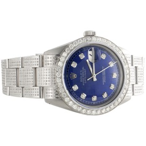 Rolex Rolex 36mm DateJust Diamond Watch Fully Iced Band Blue Dial 5.10 CT