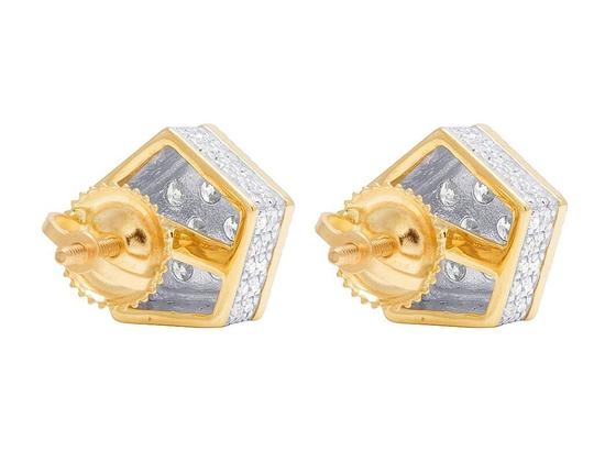 Jewelry Unlimited 10K Yellow Gold Diamond 3D Pentagon Cluster Stud Earring 0.85 Ct 10MM Image 2