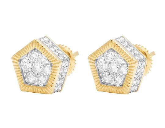 Jewelry Unlimited 10K Yellow Gold Diamond 3D Pentagon Cluster Stud Earring 0.85 Ct 10MM Image 3